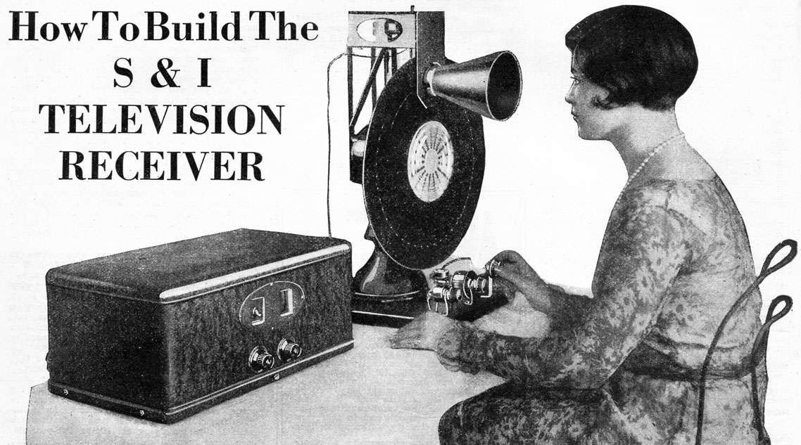 A slight adjustment of the rheostats and the picture come in clearly. This photo shows the complete television receiver connected to an ordinary radio set. The picture is seen in the cone. Science and Invention, November 1928. Volume 16 Number 7. Photo from page 618.